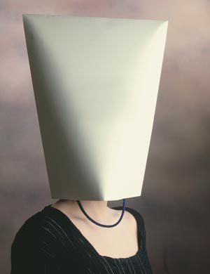 Woman with bag on head