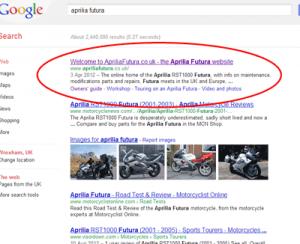 Google screenshot showing Aprilia Futura top