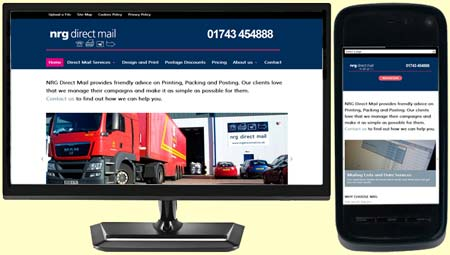 NRG Direct Mail's responsive design website built by Moghill Web Services