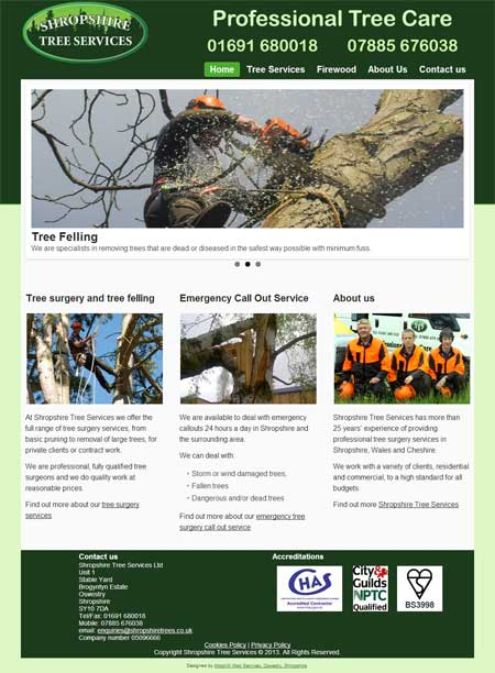 Shropshire Tree Services website screenshot