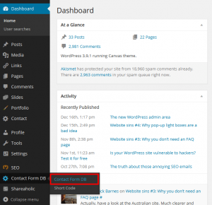 Dashboard for Contact form DB
