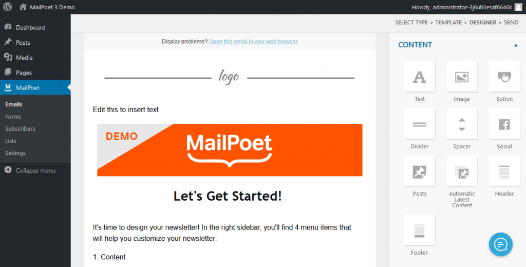 New Mailpoet newsletter interface