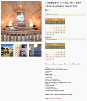 Bookings page on the Pentreclawdd Farm website