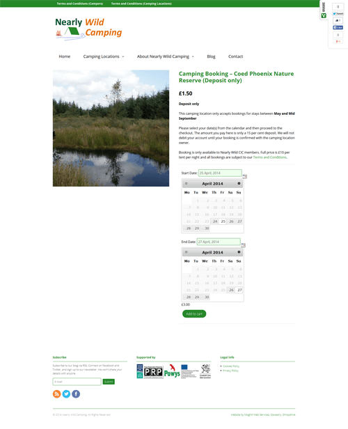 Nearly Wild Camping Booking Page